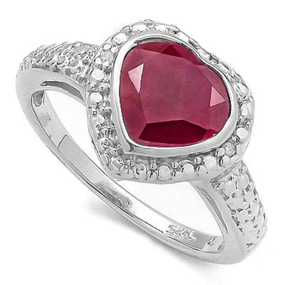 HEART SET 1CT GENUINE RUBY STERLING SILVER RING