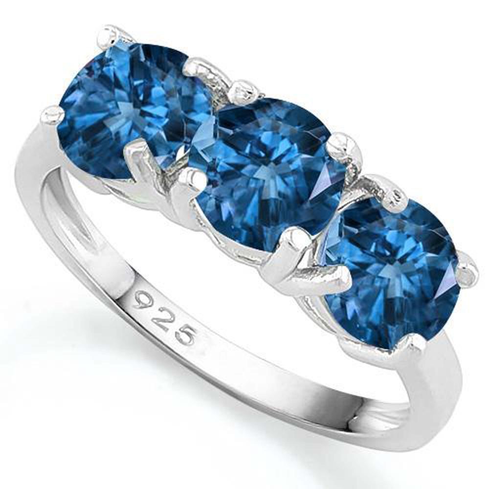 DAZZLING TRIPLE SET DEEP BLUE TOPAZ STERLING RING