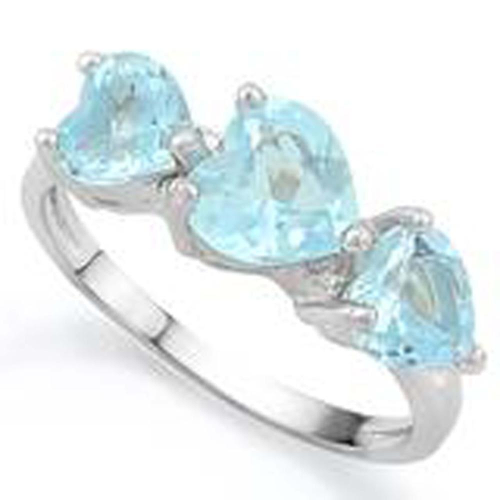 PRISTINE 3CT BLUE TOPAZ TRIPLE HEART GEMSTONE RING