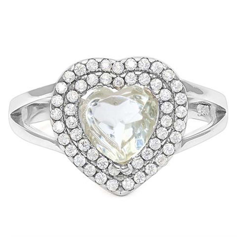 FANTASTIC 1CT GREEN/WHITE AMETHYST HEART SET RING