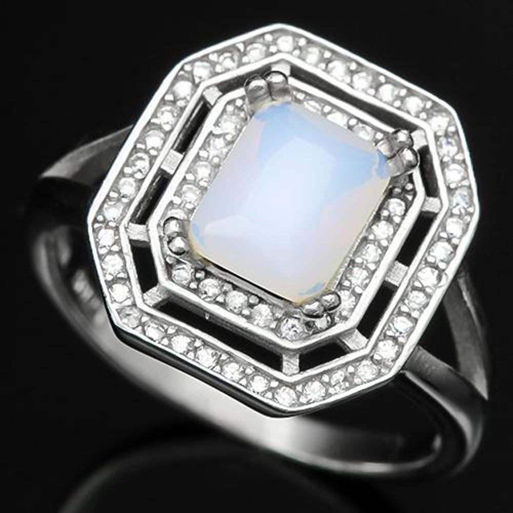 GLAM FIRE OPAL/WHITE TOPAZ STERLING SILVER RING