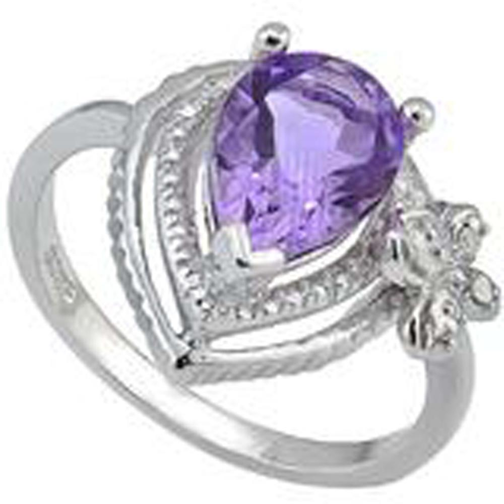 BEAUTIFUL BUTTERFLY ACCENT 1CT AMETHYST RING