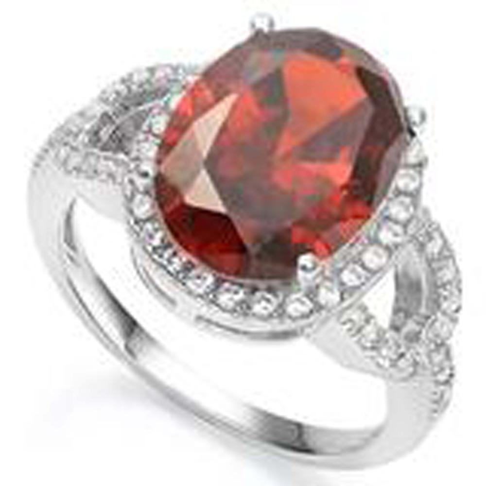 INTENSE RED QUARTZ 6CT STERLING DECO COCKTAIL RING