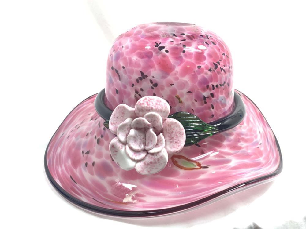 GORGEOUS MURANO MILIFIORI 3D ROSE GLASS HAT BOWL