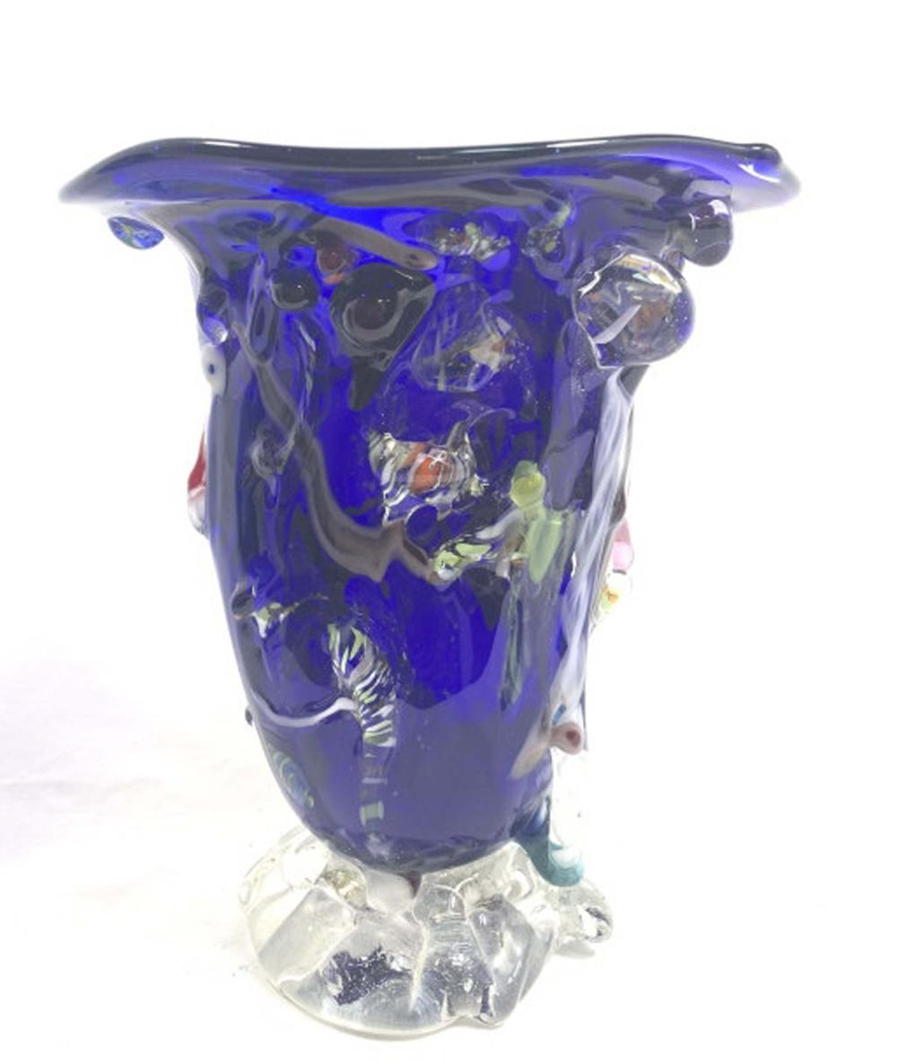 BEAUTIFUL BLUE COBALT VENETIAN DECO GLASS VASE