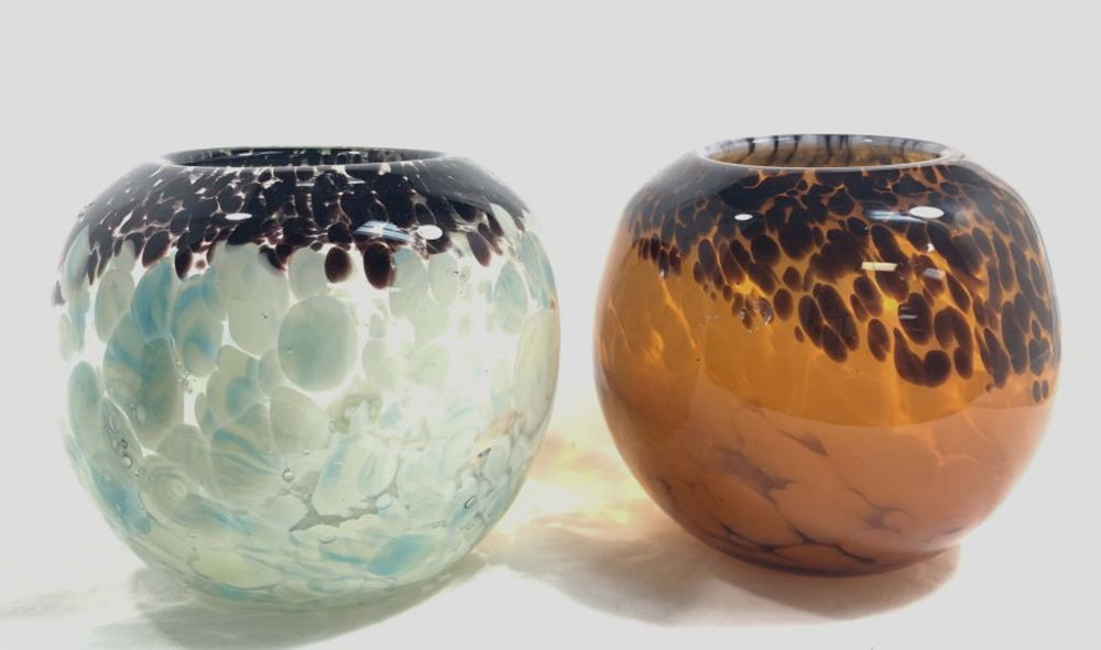 LOT OF 2 SMALL MURANO GLASS FISHBOWL VASES