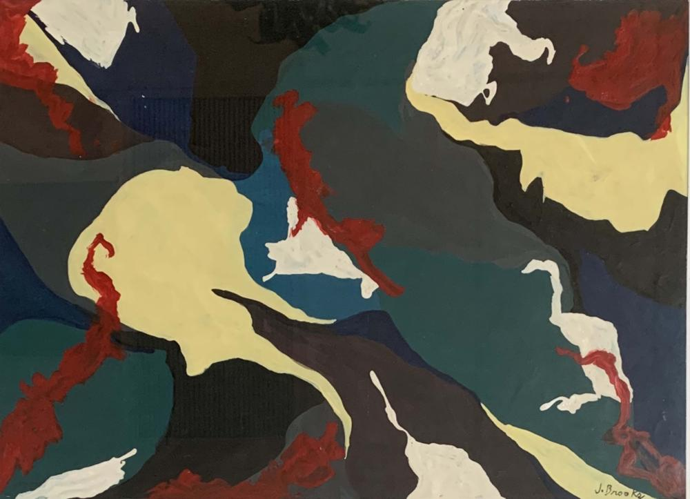 JAMES BROOKS ABSTRACT OIL ON PAPER V$16,000