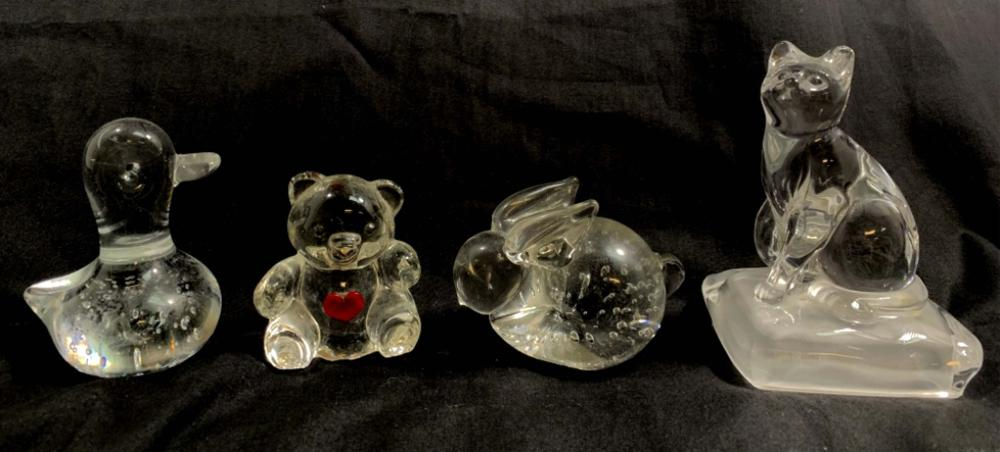 LOT OF 4 VINTAGE CLEAR ART GLASS ANIMALS