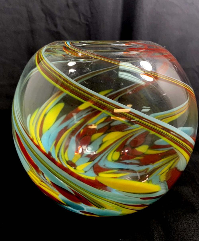PRISTINE COLOR SWIRL CLEAR GLASS FISHBOWL VASE