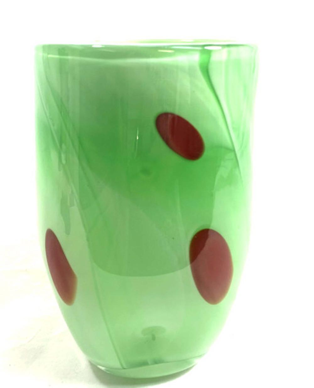 SUPERB GREEN GLASS/RED SPOT ART GLASS VASE