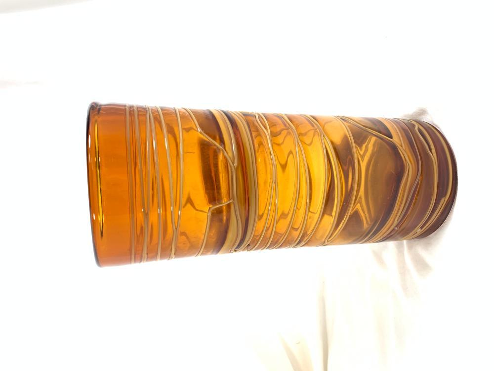 EXQUISITE DARK AMBER GLASS WRAPPED CYLINDER VASE