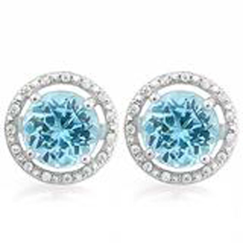 HUGE 4CT HALO STYLE BLUE/WHITE TOPAZ ROUND EARRINGS