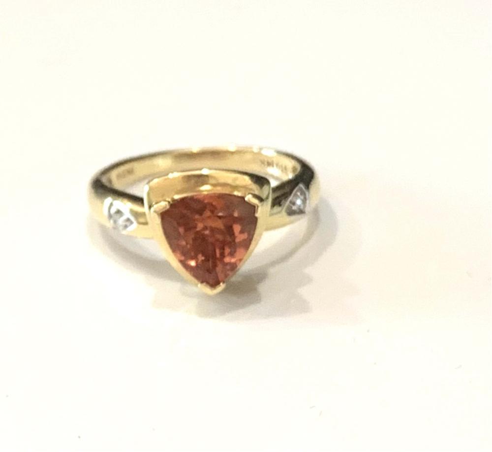 STUNNING GENUINE GOLD/DIAMOND ORANGE HESSONITE RING