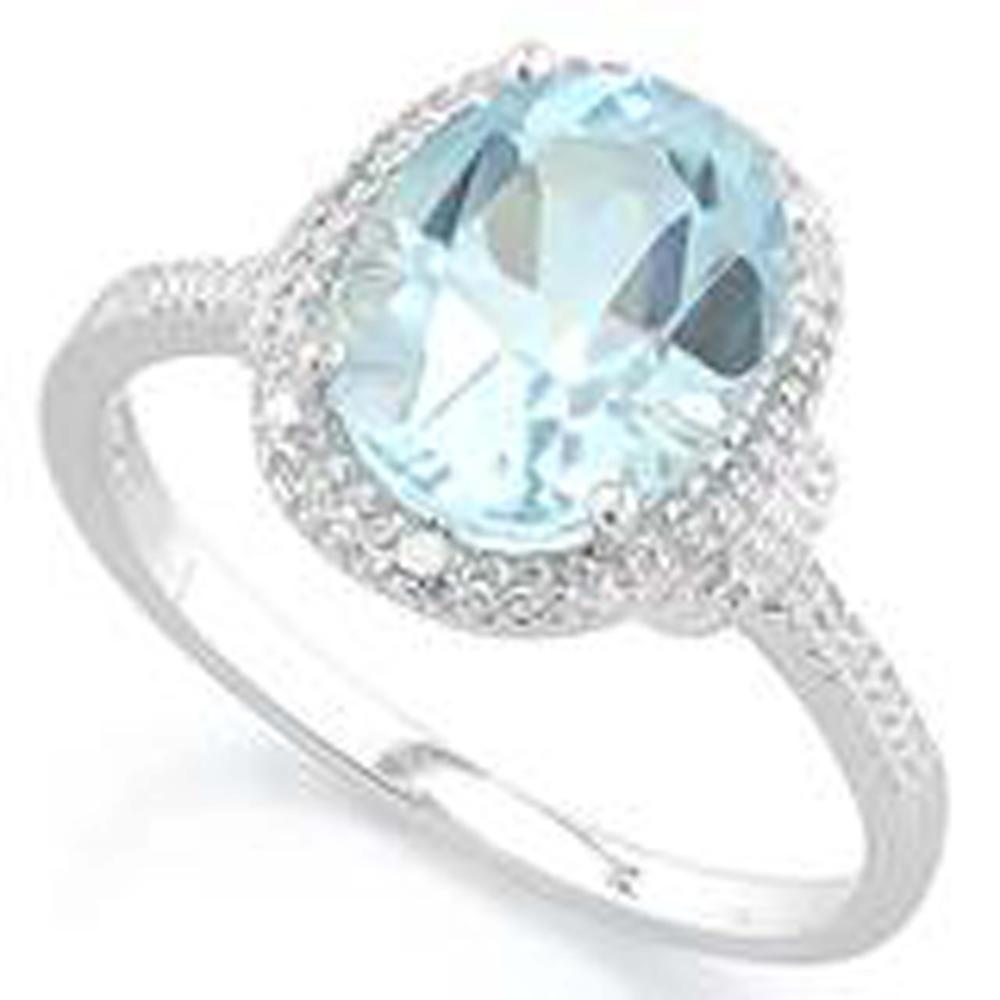 SKY BLUE 4CT FACETED BLUE TOPAZ OVAL STERLING RING