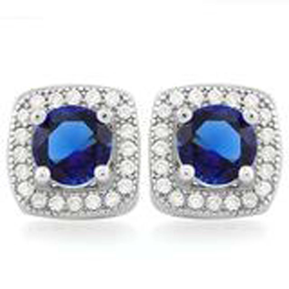 BRILLIANT BLUE/WHITE CRYSTAL LADIES STERLING EARRINGS