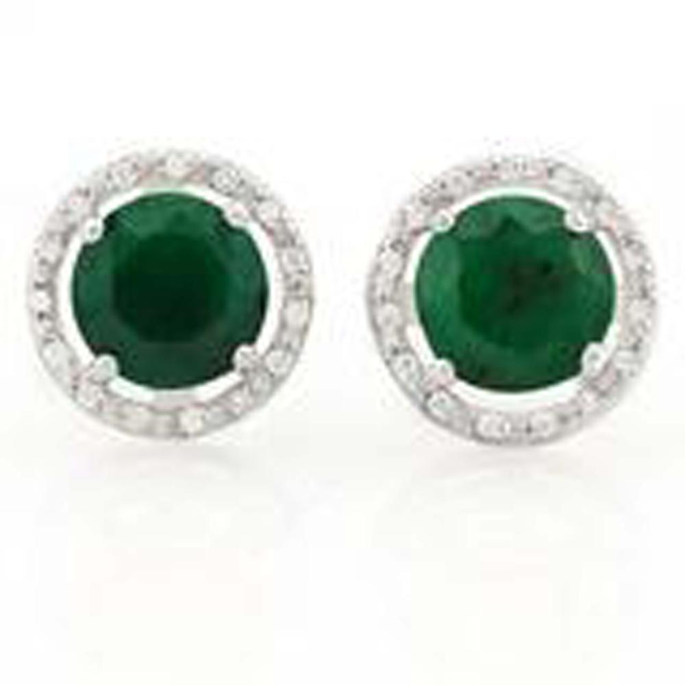 GORGEOUS 4CT ROUND HALO SET STERLING EARRINGS