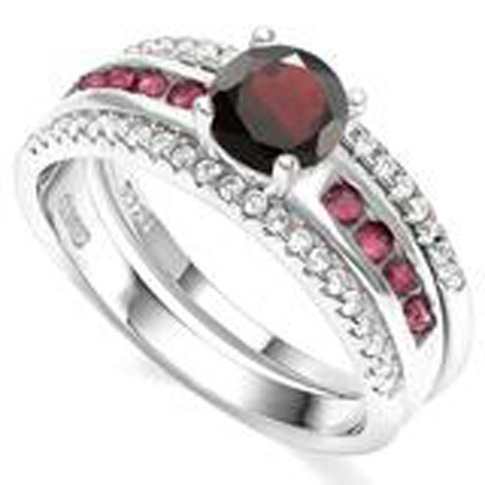 FABULOUS 2CT GARNET SOLITAIRE STERLING DOUBLE RING