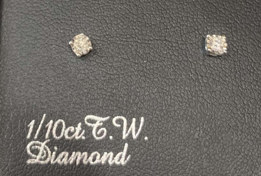 GENUINE 1/10CT DIAMOND STUD STERLING SILVER EARRINGS