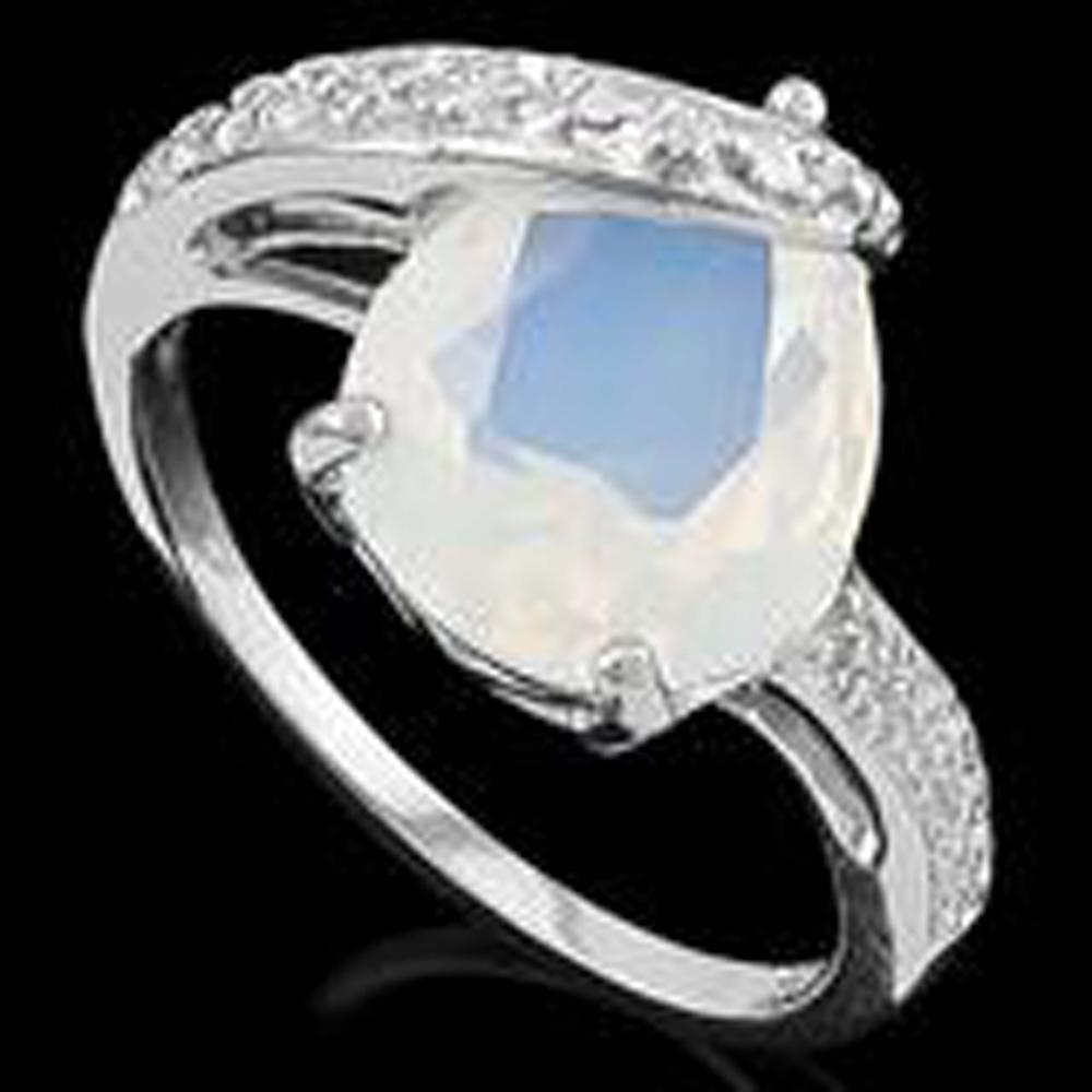 PRISTINE 4CT FIRE OPAL ART DECO STYLE STERLING RING