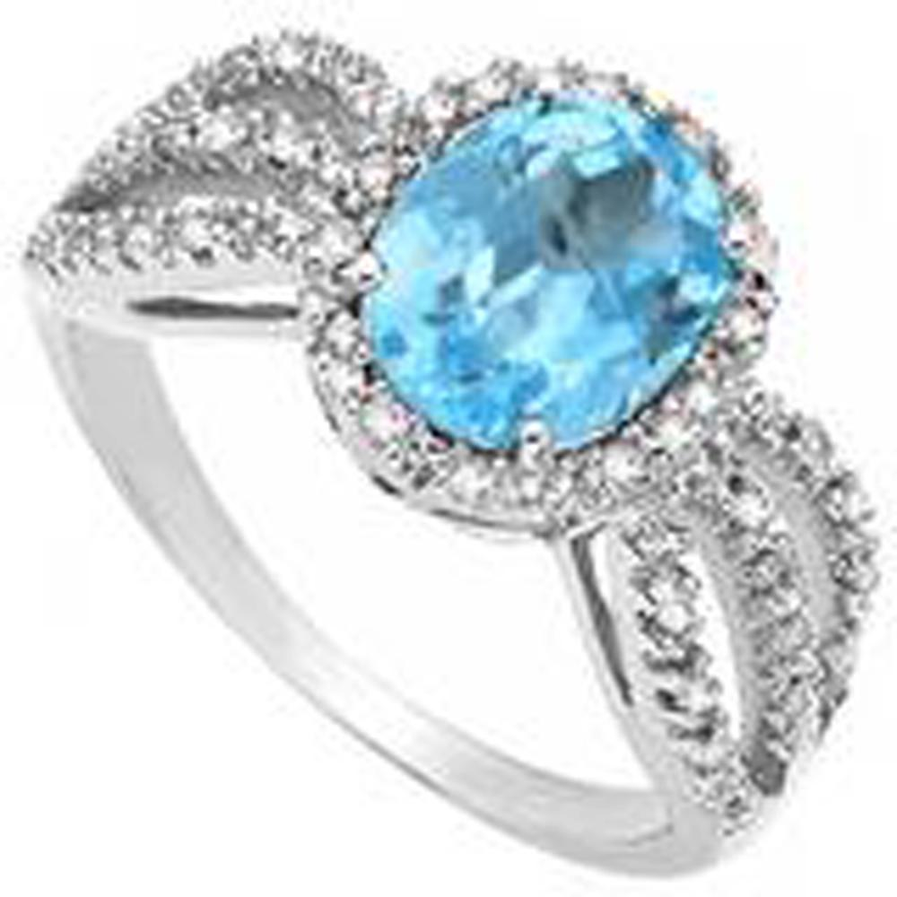 GLAM STERLING SILVER FACETED OVAL 4CT BLUE TOPAZ RING