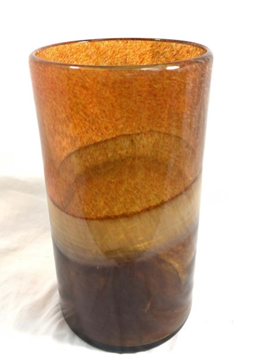 COOL SPECKLED ORANGE MOD BROWN DECO GLASS VASE