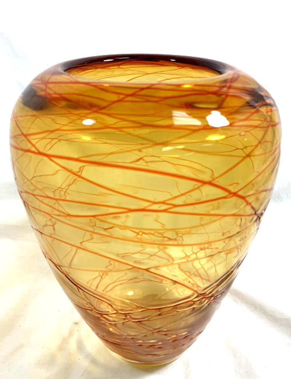 COOL ABSTRACT BRIGHT ORANGE GLASS WRAP MOD VASE
