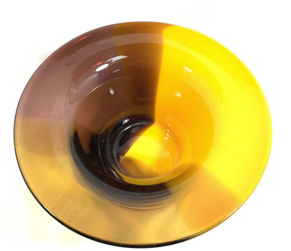 BRILLIANT ORANGE/LAVENDAR MOD ART GLASS BOWL