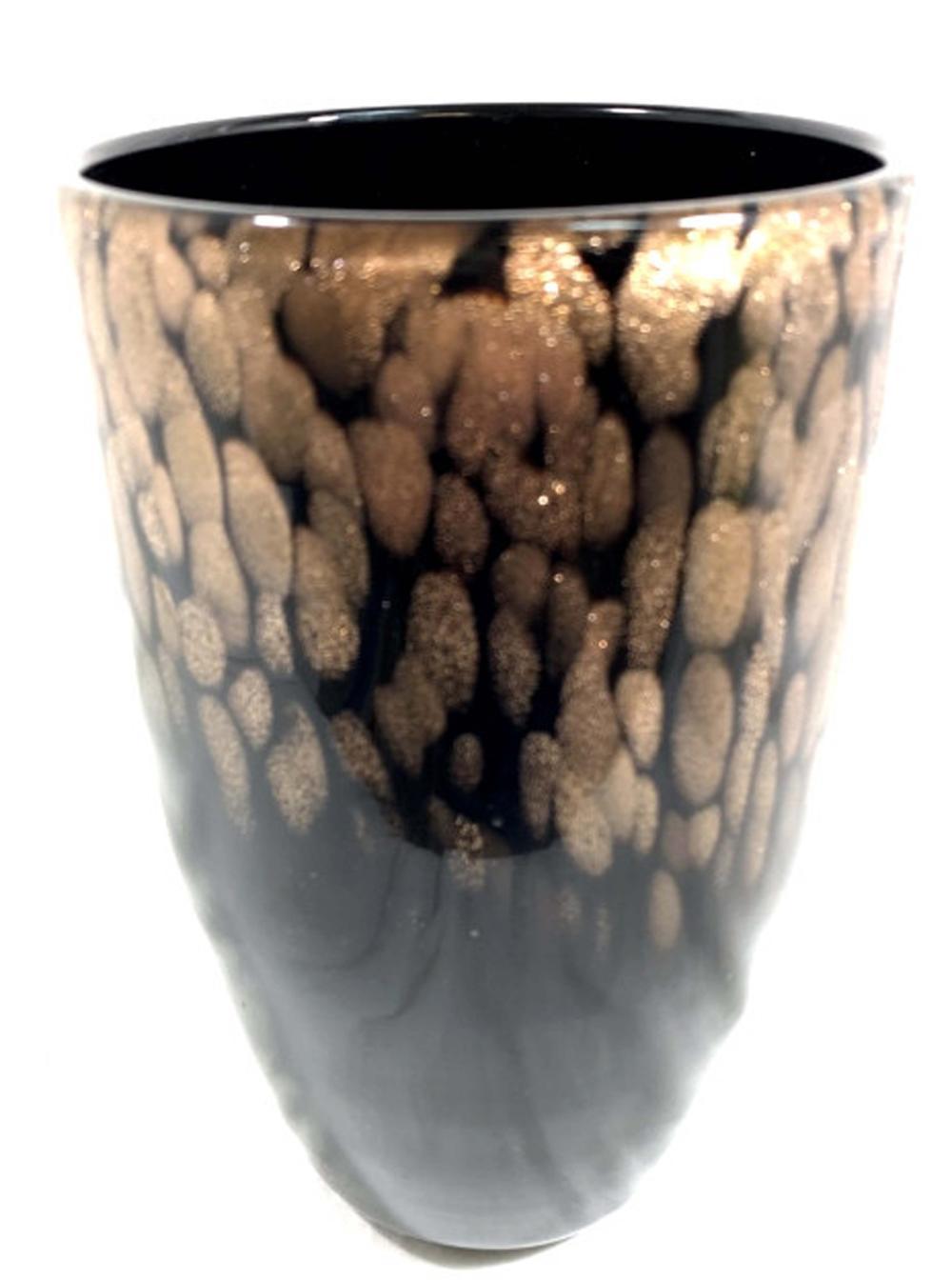 FABULOUS GOLD SPARKLE ONYX MURANO GLASS VASE