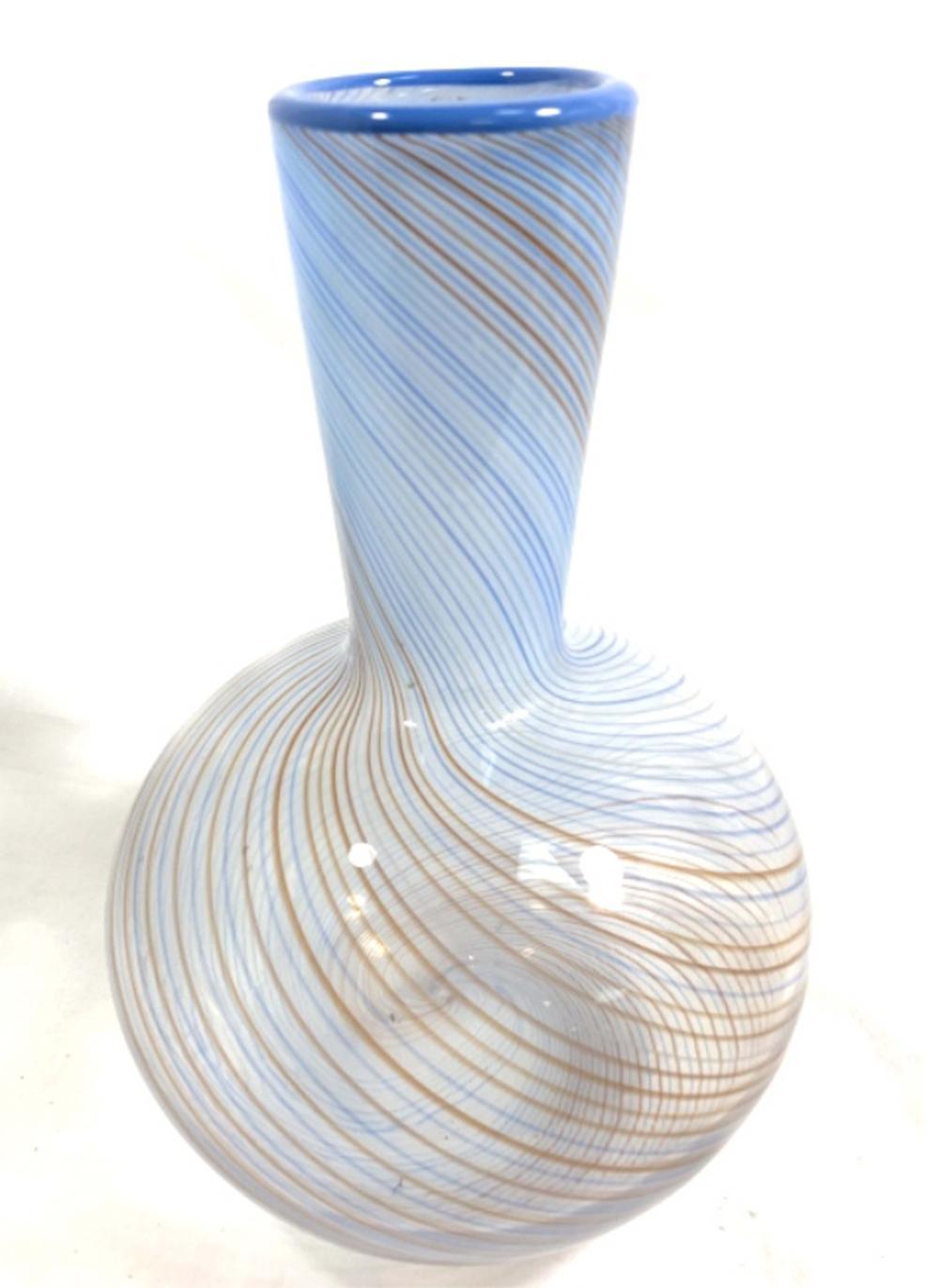 EXQUISITE BLUE/BROWN SWIRL VINTAGE ART GLASS VASE