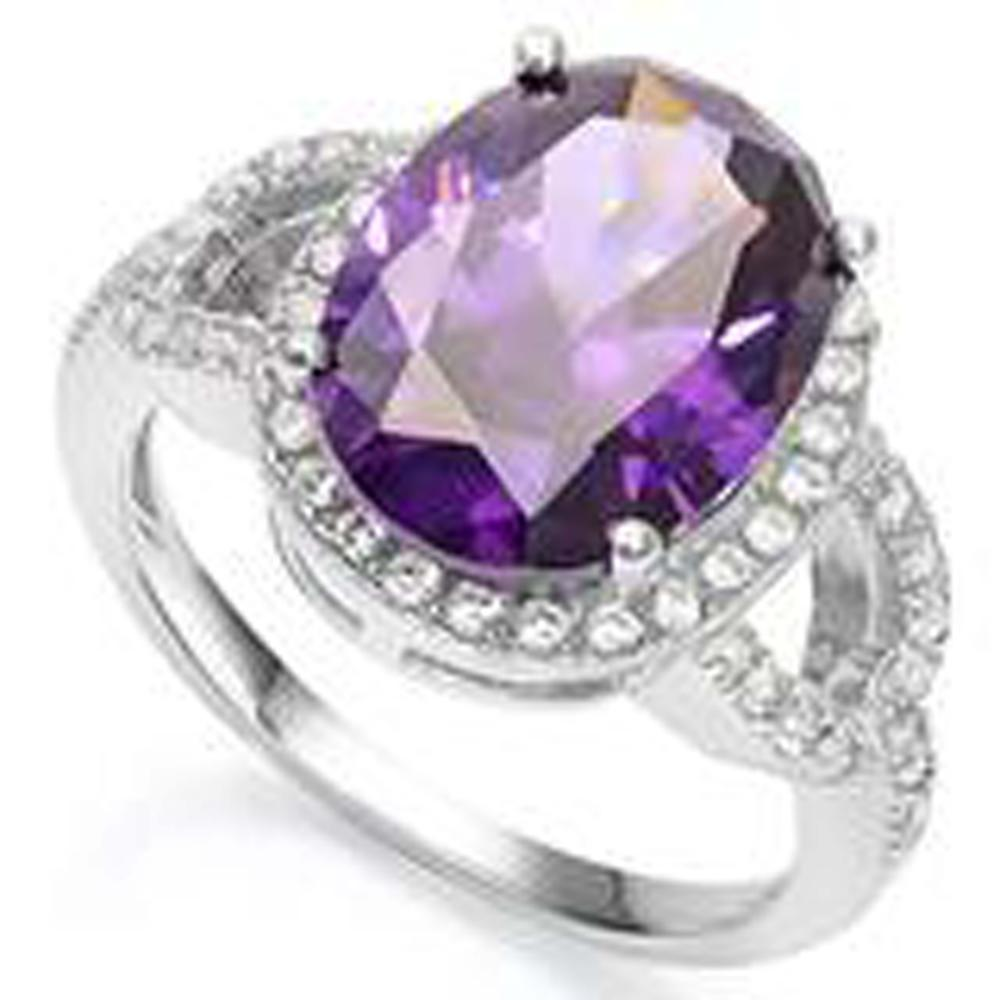 BRILLIANT 4CT AMETHYST/WHITE TOPAZ FACETED RING