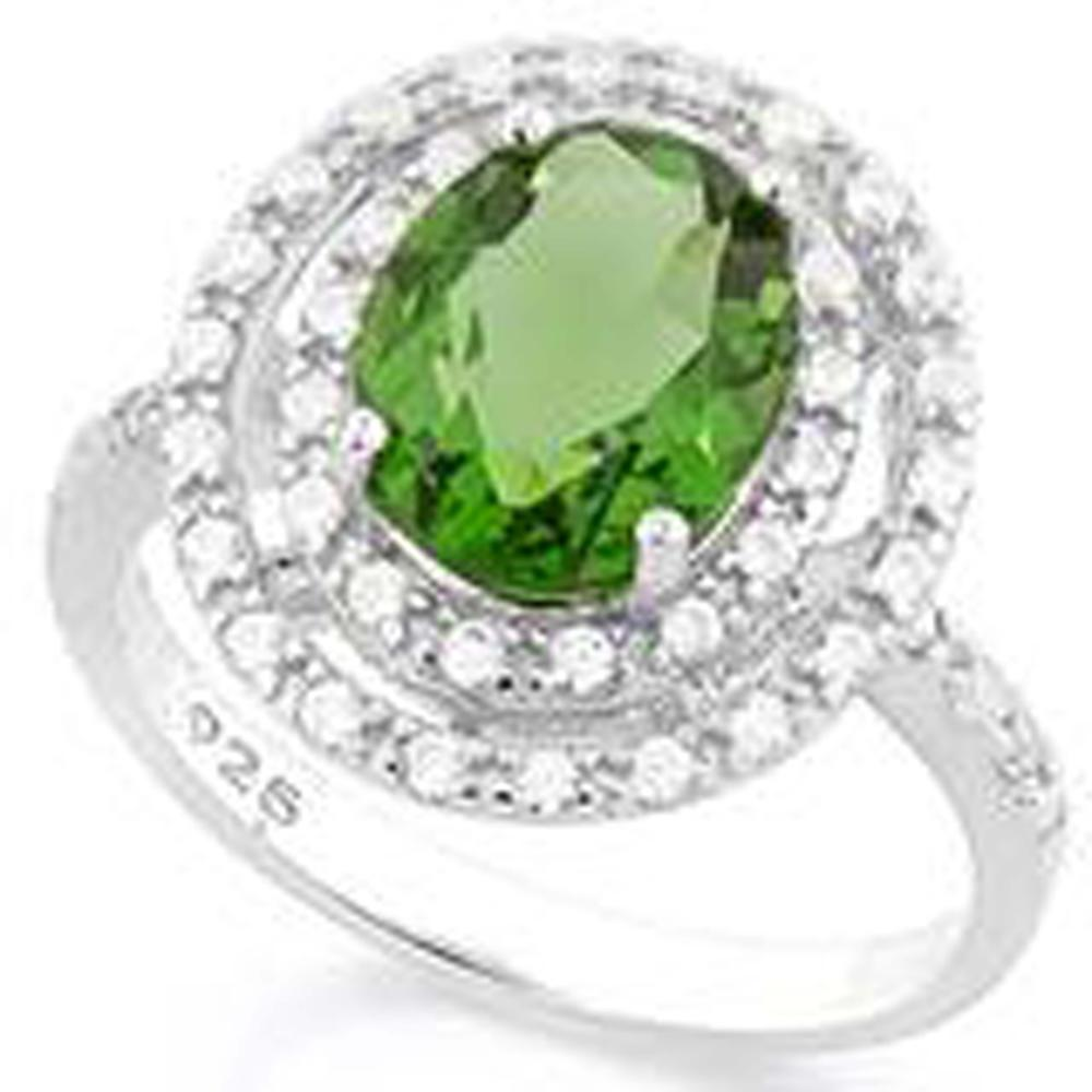 HALO STYLE GREEN PERIDOT 3CT OVAL ESTATE RING
