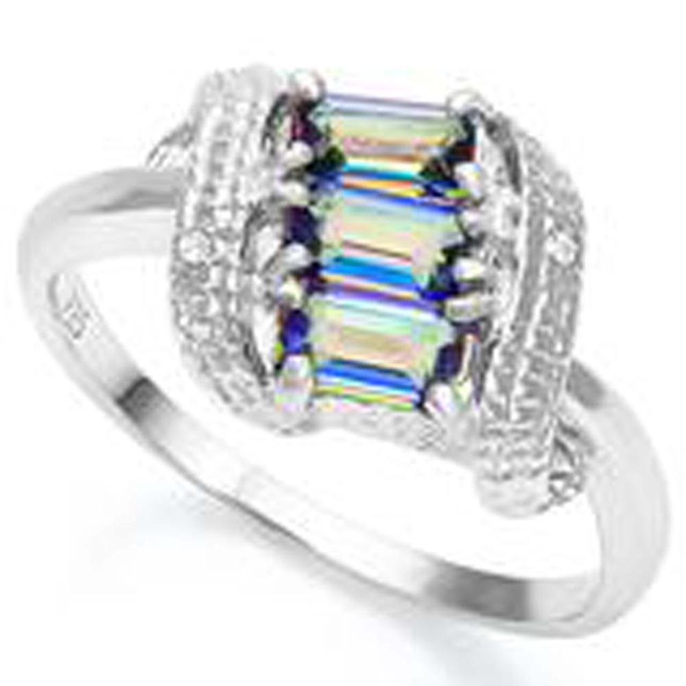 SHIMMERING 1CT RAINBOW TOPAZ TRIPLE SET RING