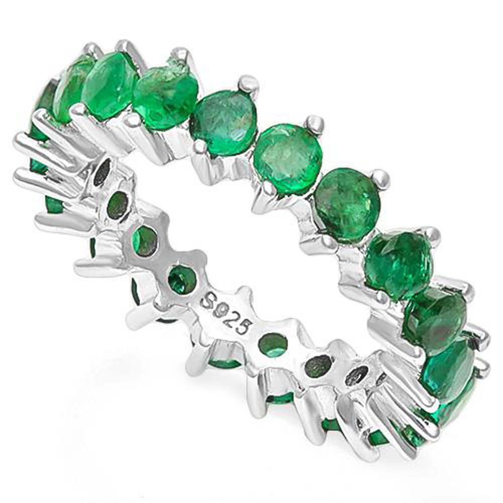 GLAM 3CT ROUND GENUINE EMERALD STERLING BAND