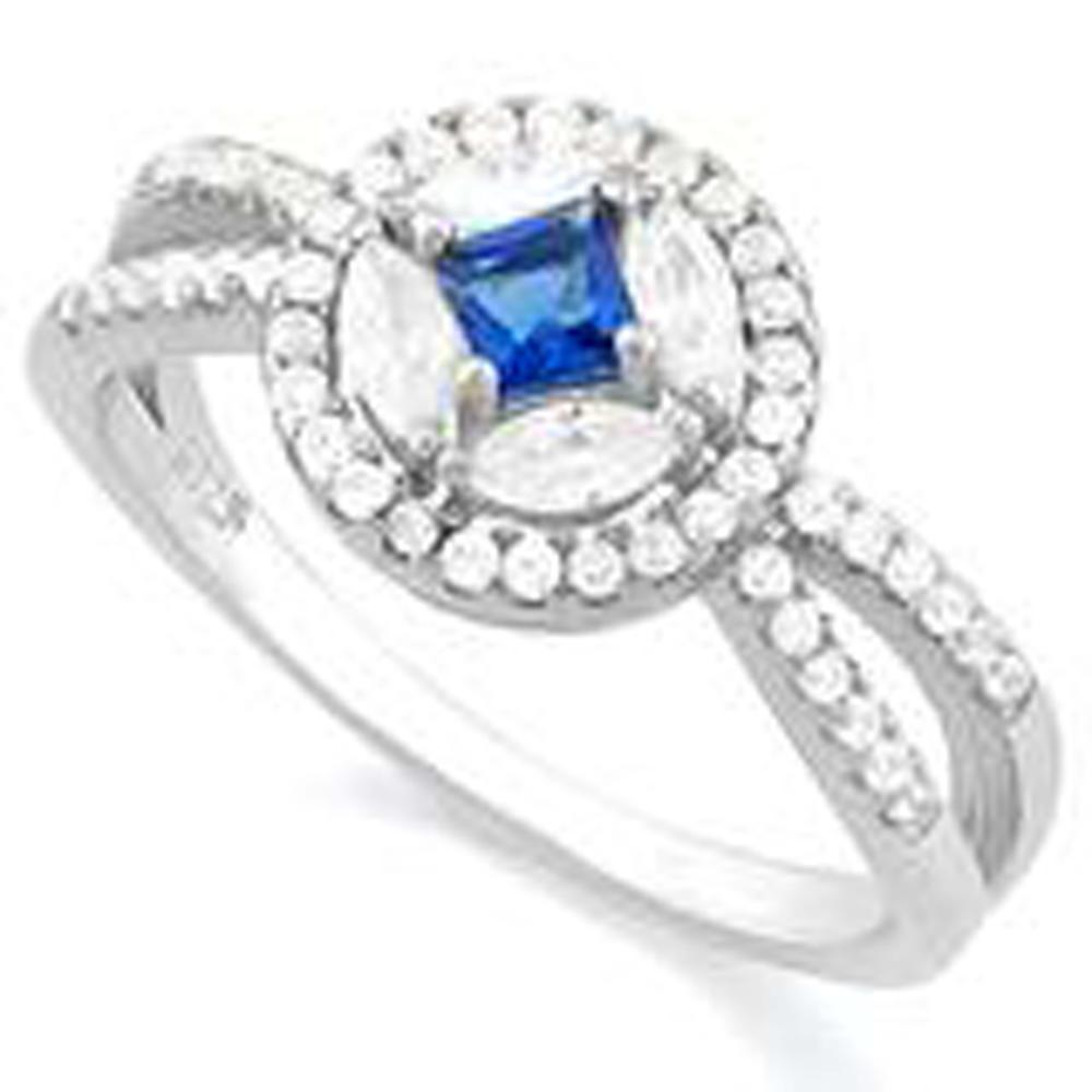 EXCELLENT BLUE/WHITE CRYSTAL ART DECO RING