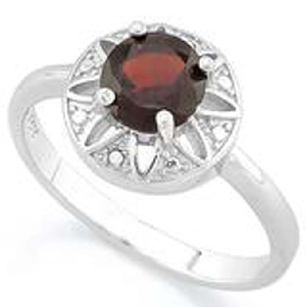 DARLING .30CT RED GARNET SOLITAIRE STERLING RING