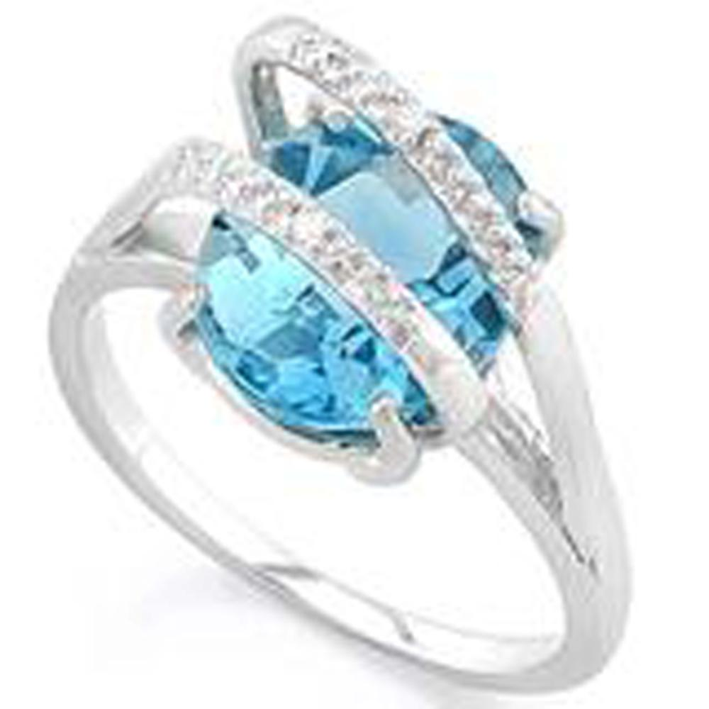 INCREDIBLE BLUE TOPAZ 4CT OVAL STERLING ESTATE RING