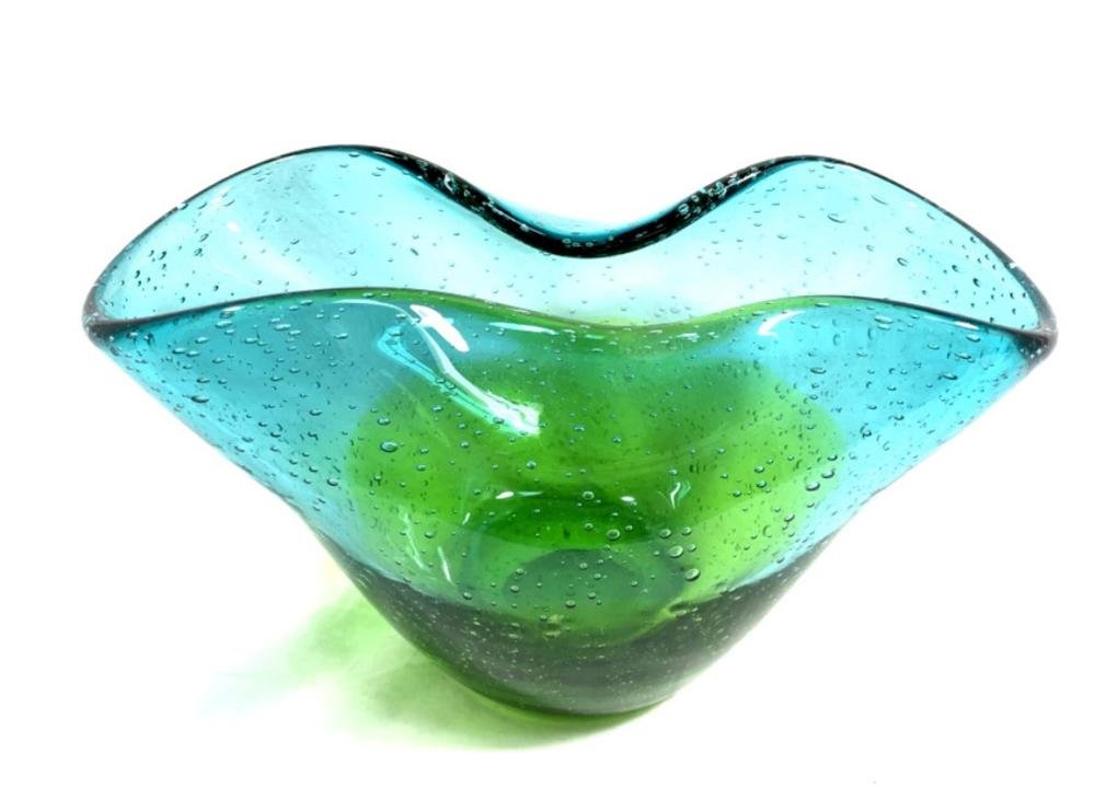 EXQUISITE FOLDED BLUE/GREEN MURANO GLASS DECO BOWL