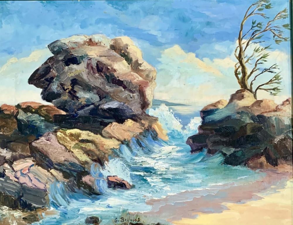GEORGE WESLEY BELLOWS SEASCAPE OIL ON CANVAS V$40,000
