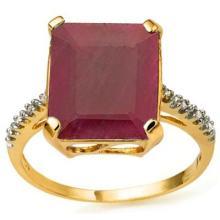 PRETTY 10K GOLD GENUINE 6CT RUBY/DIAMOND RING