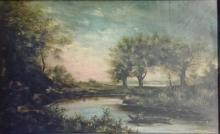ANTIQUE LANDSCAPE OIL ON BOARD PAINTING