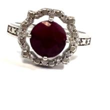 PRETTY ROUND RUBY 2CT SOLITAIRE STERLING RING