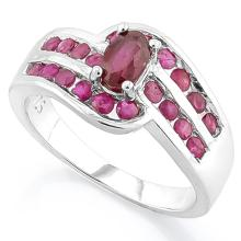PRETTY AFRICAN RUBY DECO SET STERLING RING
