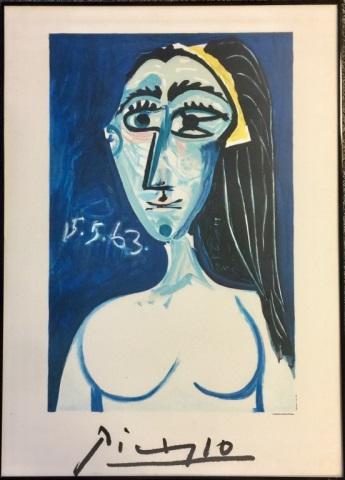 VINTAGE FRAMED PABLO PICASSO FINE ART POSTER