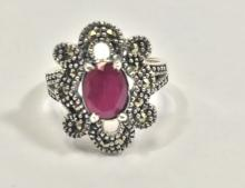 FILIGREE 1CT RUBY/MARCASITE STERLING RING