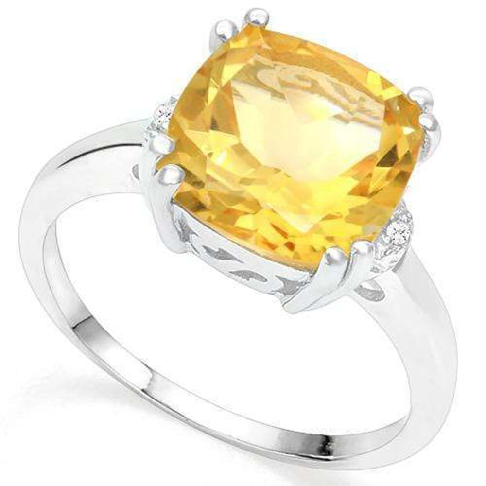 GORGEOUS 3CT CITRINE/DIAMOND STERLING COCKTAIL RING