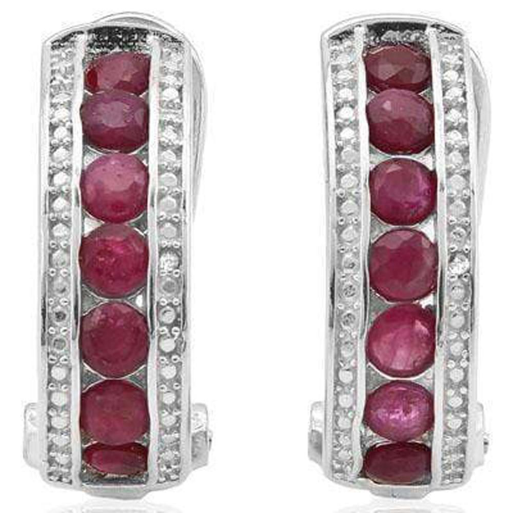 Lot 8: DAZZLING 2CT GENUINE RUBY/DIAMOND HALF HOOP EARRINGS