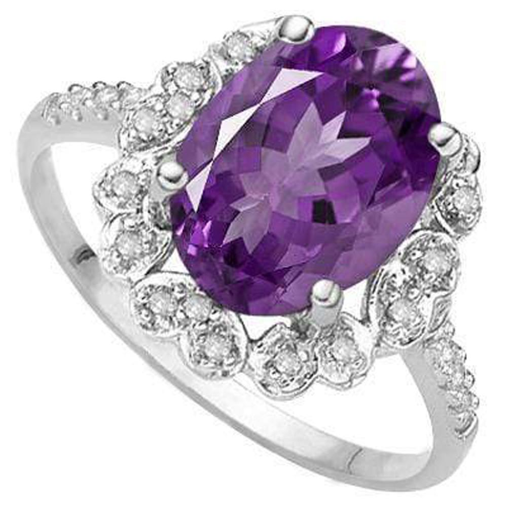 Lot 6: MAGNIFICENT 1CT HEART ACCENT LAVENDAR AMETHYST RING