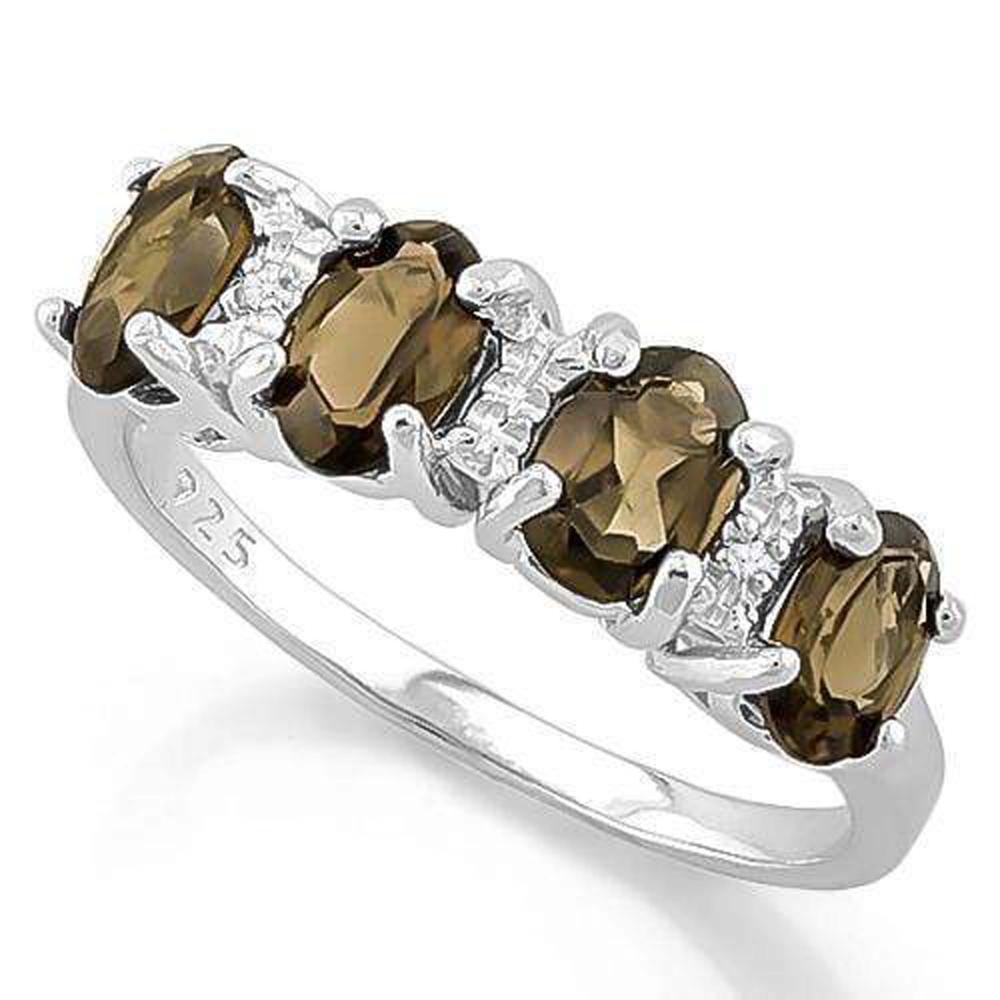 AMAZING DIAMOND ACCENT SMOKEY TOPAZ 3CT ROW RING