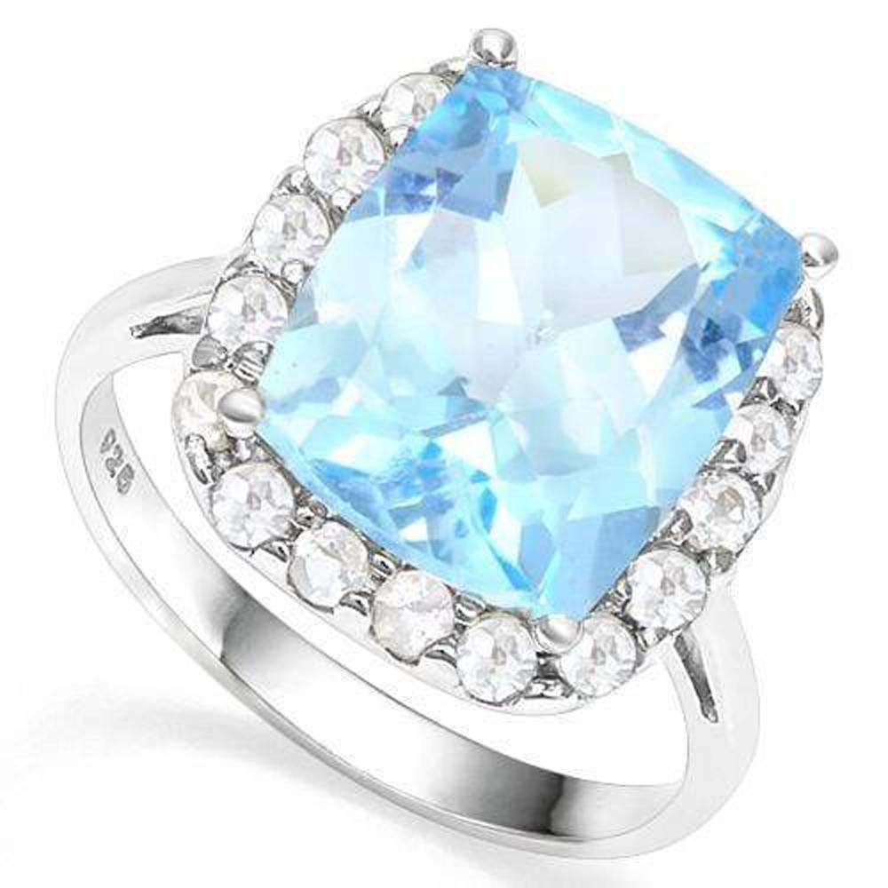 EXCELLENT CRYSTAL BLUE 6CT FACETED TOPAZ RING