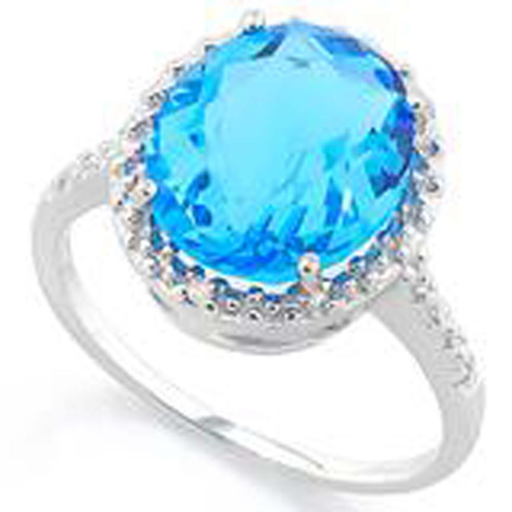PRISTINE 6CT FACETED OVAL BLUE QUARTZ STERLING RING